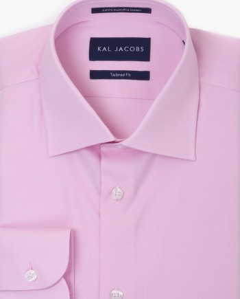 Tailored Fit Pink Pinpoint Oxford Cotton Shirt - Cutaway Collar