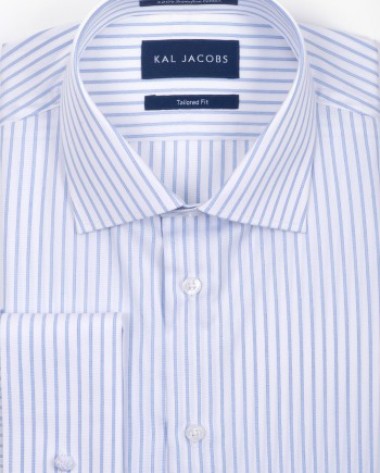Tailored Fit Blue Shadow Stripe 120s Cotton Shirt - Double Cuffs