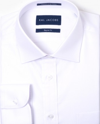 Regular Fit White Pinpoint Oxford Cotton Shirt - Cutaway Collar