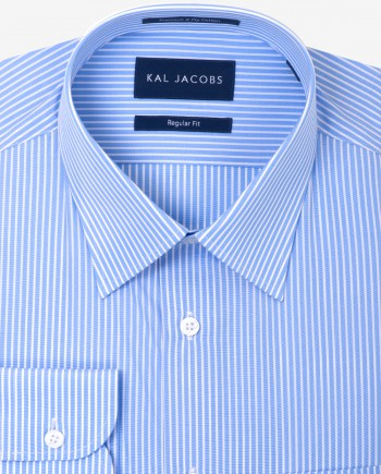 Regular Fit Blue & White Bengal Stripe Cotton Shirt - Classic Point Collar