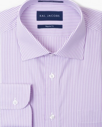 Regular Fit Pink Stripe Cotton Shirt - Cutaway Collar