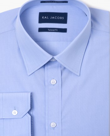 Tailored Fit Light Blue Fil-a-Fil Cotton Shirt - Classic Point Collar