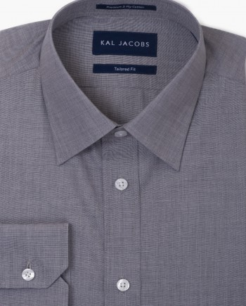 Tailored Fit Ash Grey Fil-a-Fil Cotton Shirt - Classic Point Collar