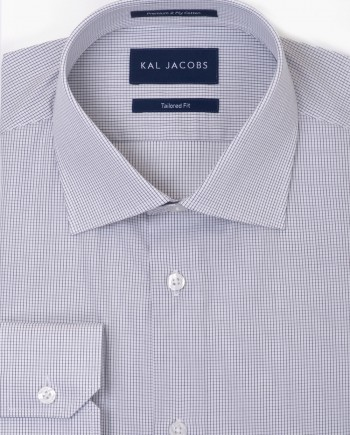 Tailored Fit Black & White Grid Check Cotton Shirt - Cutaway Collar