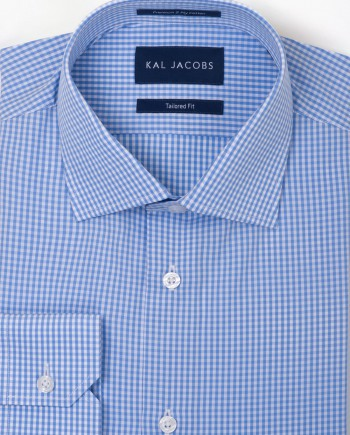 Tailored Fit Mini Blue & White Gingham Cotton Shirt - Cutaway Collar