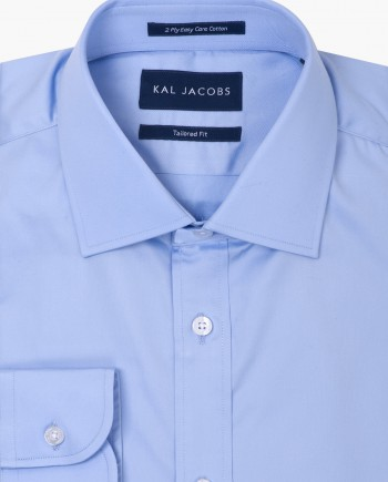 Tailored Fit Light Blue Twill Easy Iron Cotton Shirt - Cutaway Collar