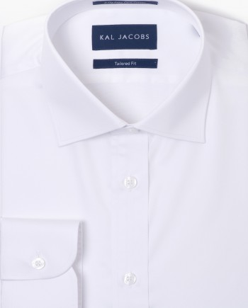 Tailored Fit White Twill Easy Iron Cotton Shirt - Cutaway Collar