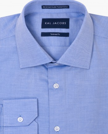 Tailored Fit Light Blue Twill Cotton Shirt - Cutaway Collar