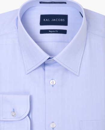 Regular Fit Light Blue Herringbone Twill Cotton Shirt - Classic Point Collar