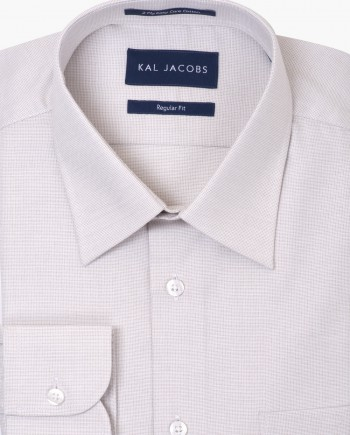 Regular Fit Light Khaki Fil-a-Fil Easy Iron Cotton Shirt - Classic Point Collar