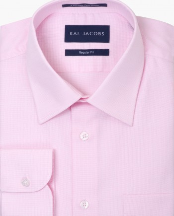 Regular Fit Light Pink Fil-a-Fil Easy Iron Cotton Shirt - Classic Point Collar