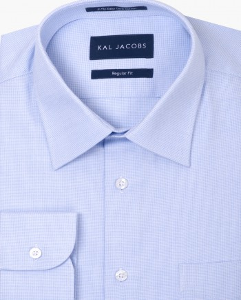 Regular Fit Light Blue Fil-aFil Easy Iron Cotton Shirt - Classic Point Collar