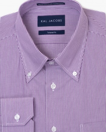 Tailored Fit White & Purple Stripe Cotton Shirt - Button-Down Collar