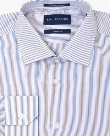 Tailored Fit Blue & Gold Striped Twill Easy Iron Cotton Shirt - Cutaway Collar