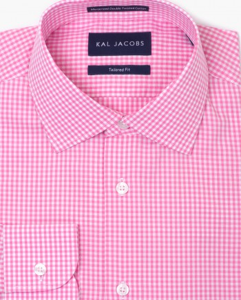 Tailored Fit Pink & White Gingham Cotton Shirt - Cutaway Collar