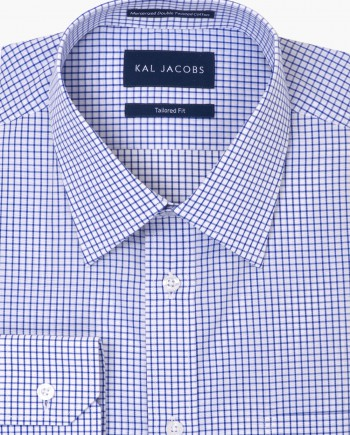 Tailored Fit White & Blue Grid Check Cotton Shirt - Classic Point Collar