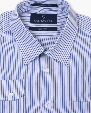 Tailored Fit Blue & White Striped Bamboo Shirt