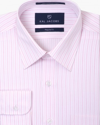 Regular Fit White & Pink Striped Bamboo Shirt