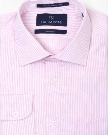 Tailored Fit White & Pink Striped Bamboo Shirt