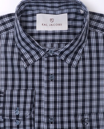 Tailored Fit Black & White Plaid Cotton Shirt