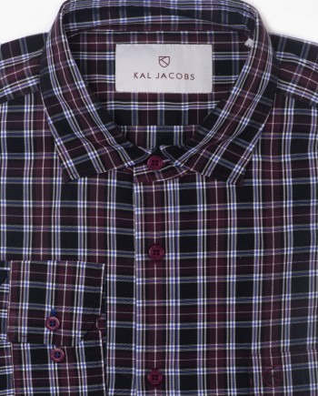 Tailored Fit Black & Maroon Plaid Cotton Shirt