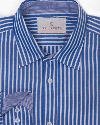 Tailored Fit Blue & White Shadow Stripe Cotton Shirt