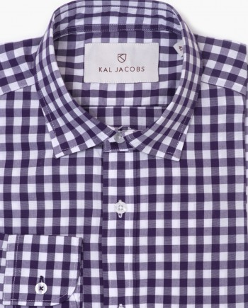 Tailored Fit White & Dark Purple Cotton Gingham Shirt