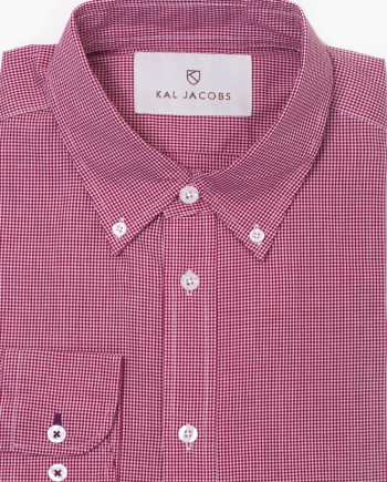 Tailored Fit Red & White Cotton Gingham Shirt