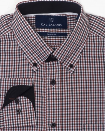 Tailored Fit Brown Black & White Gingham Cotton Shirt