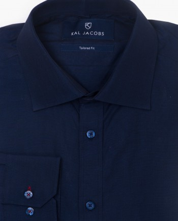 Tailored Fit Navy Blue Cotton Shirt