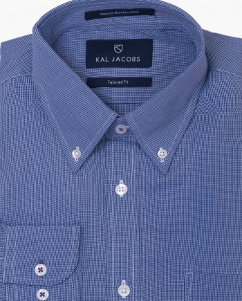 Tailored Fit Blue & White Pin Check Bamboo Shirt