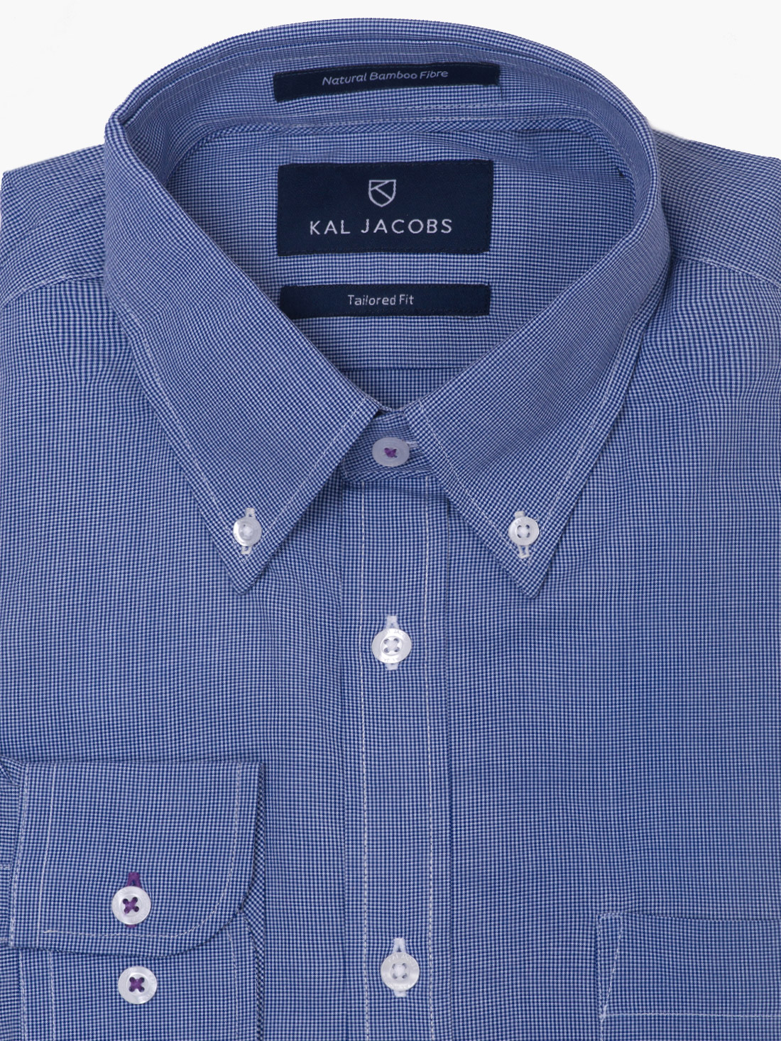 Tailored fit blue white pin check bamboo shirt kal jacobs for Bamboo button down shirts