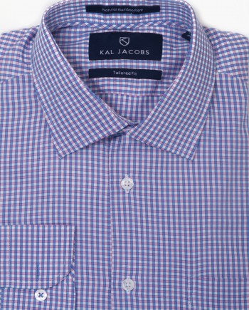 Tailored Fit Blue & Pink Gingham Bamboo Shirt