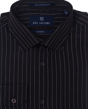 Tailored Fit Black & White Pin Striped Bamboo Shirt