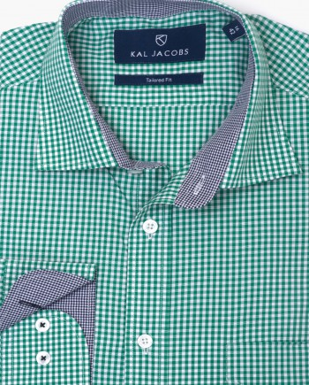 Tailored Fit Green & White Gingham Cotton Shirt
