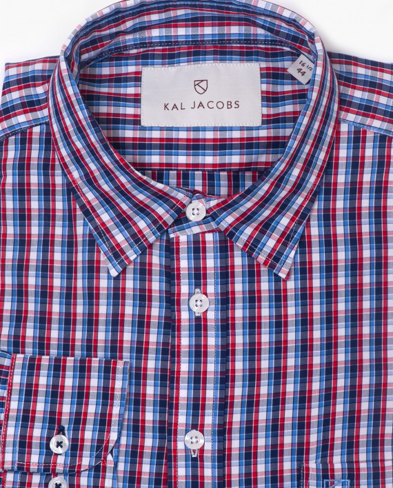 Tailored fit red navy blue plaid bamboo shirt kal jacobs for Navy blue plaid shirt