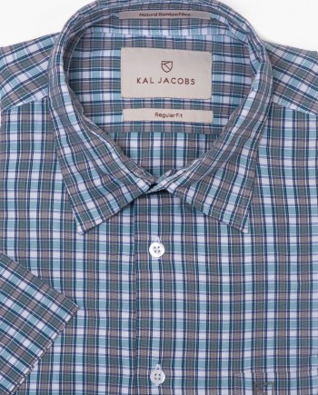 Regular Fit Blue & Grey Check Bamboo Shirt