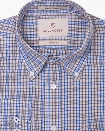 Tailored Fit Blue & Brown Check Button Down Collar Bamboo Shirt