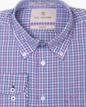 Tailored Fit Blue & Lavender Check Button-Down Collar Bamboo Shirt