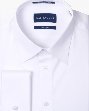 Regular Fit White Twill Double Cuff Cotton Shirt - Classic Point Collar
