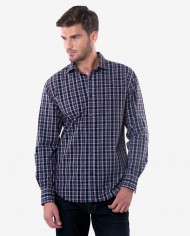 Tailored Fit Black & Maroon Plaid Cotton Shirt 1