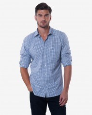 Tailored Fit Navy Blue & Grey Tattersall Bamboo Shirt 1