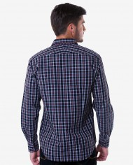 Tailored Fit Black & Maroon Plaid Cotton Shirt 2