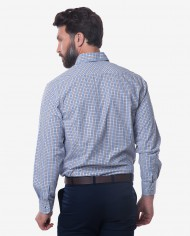 Tailored Fit Blue & Brown Check Button Down Collar Bamboo Shirt 2
