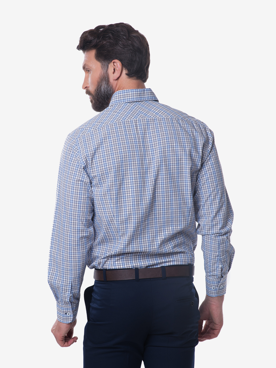 Tailored fit blue brown check button down collar bamboo for Bamboo button down shirts