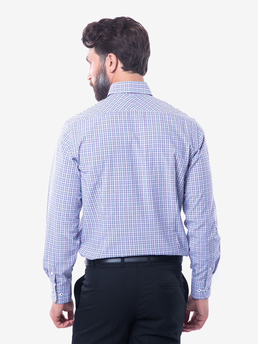 Tailored fit blue lavender check button down collar for Bamboo button down shirts