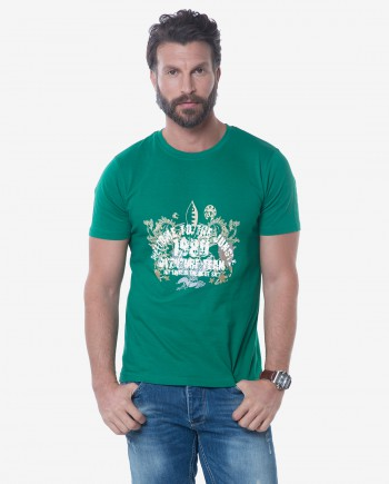 Trim Fit Green Cotton Jersey T-shirt